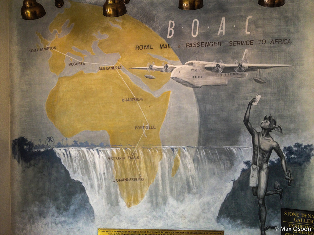 Mural at the entrance of the Victoria Falls Hotel in Zimbabwe.