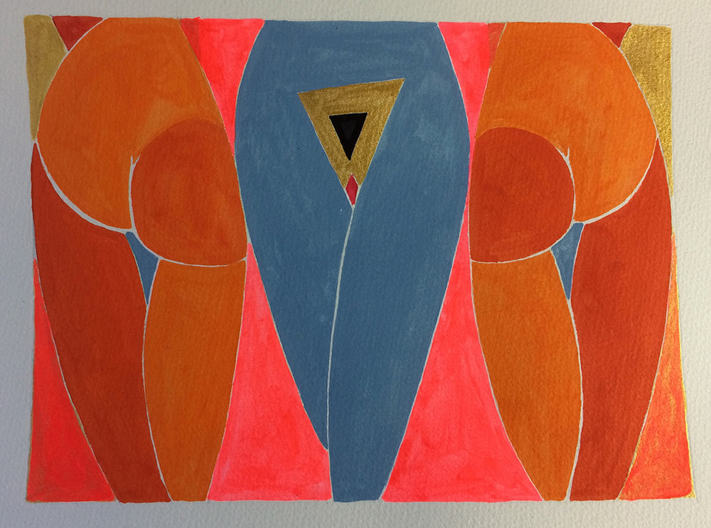 Three Graces  2016 Mixed media on paper 20 x 24cm