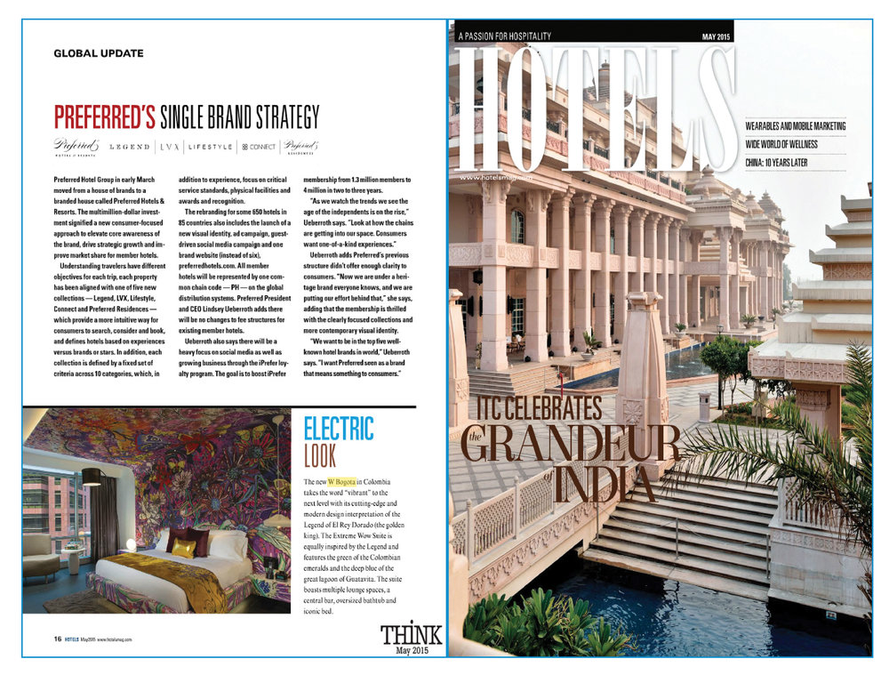 W Bogota, Colombia in Hotels Magazine - Credit: Hotel Business, January 2016.