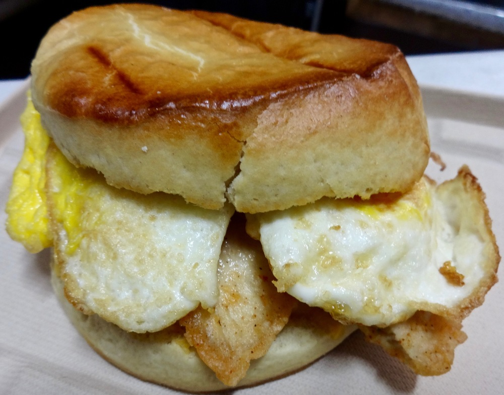 Little Skillet biscuit with egg, cheese and fried chicken