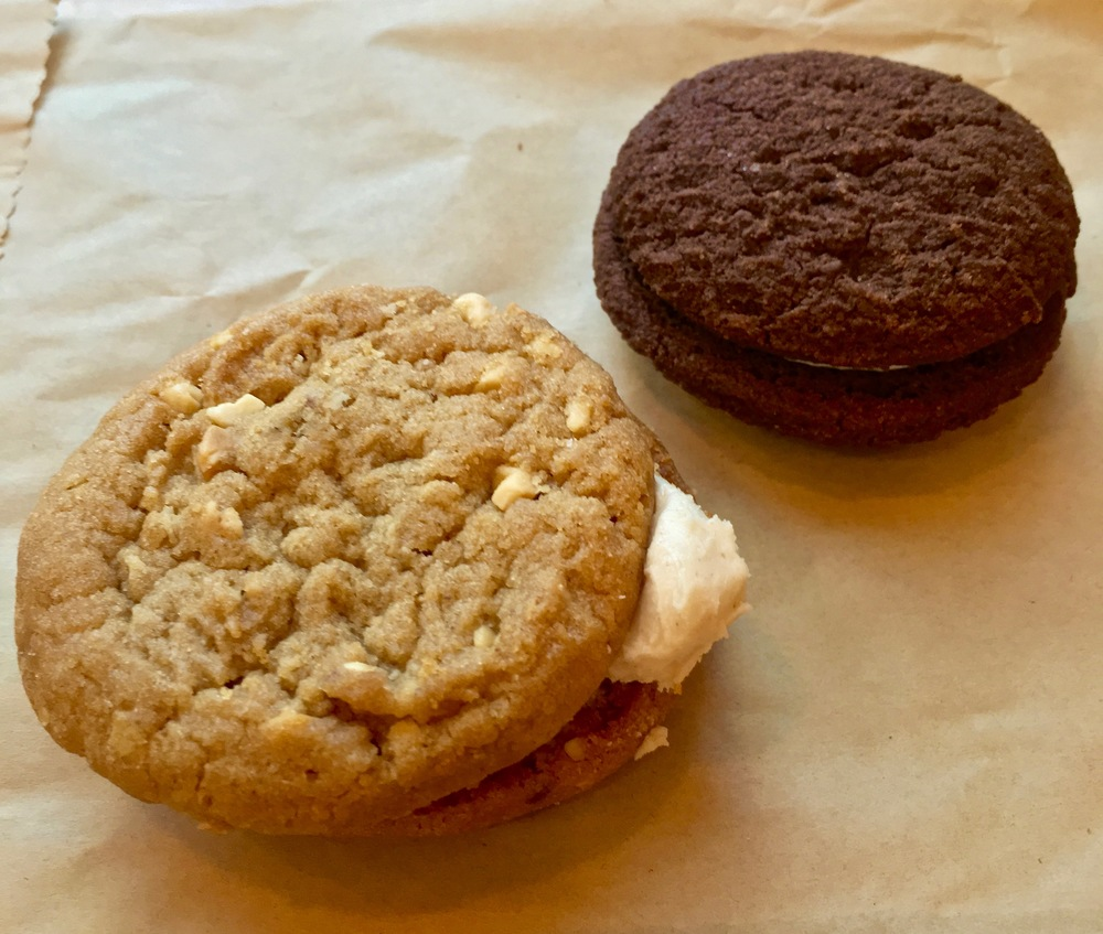 Peanut butter creme cookie and gluten free chocolate creme cookie