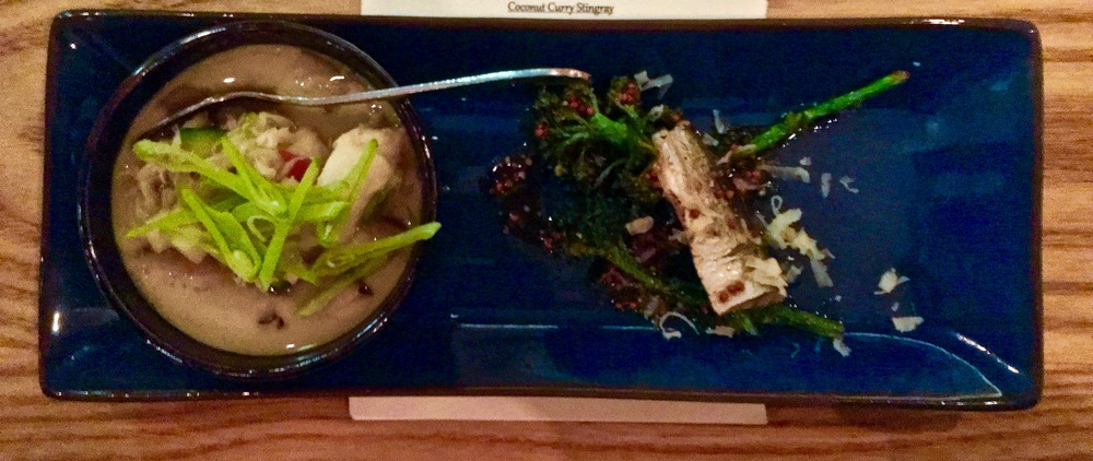 Predator & Prey: Dungeness Chawanmushi, shitake mushrooms, peas, fuji apples, pickled herring, broccoli and wholegrain mustard ponzu.
