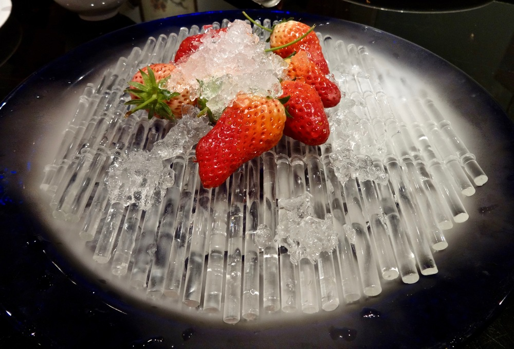 dry iced strawberries