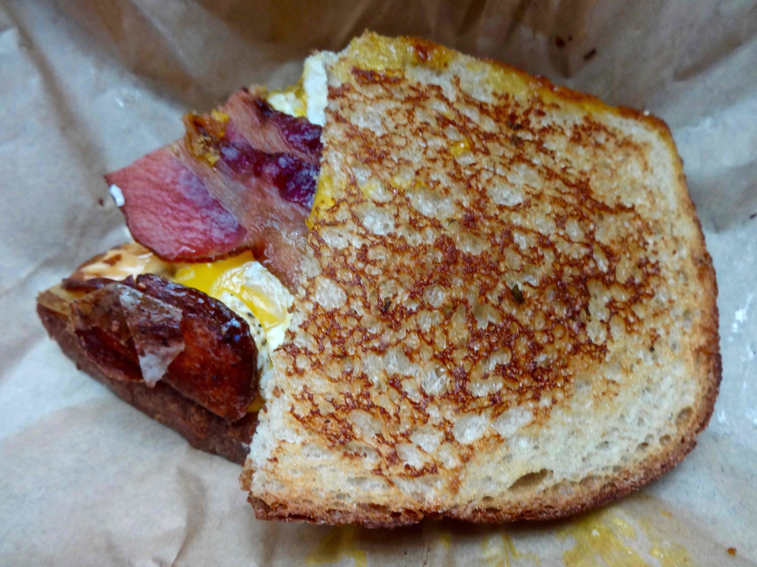 serving: breakfast sandwich american grilled cheese kitchen in soma