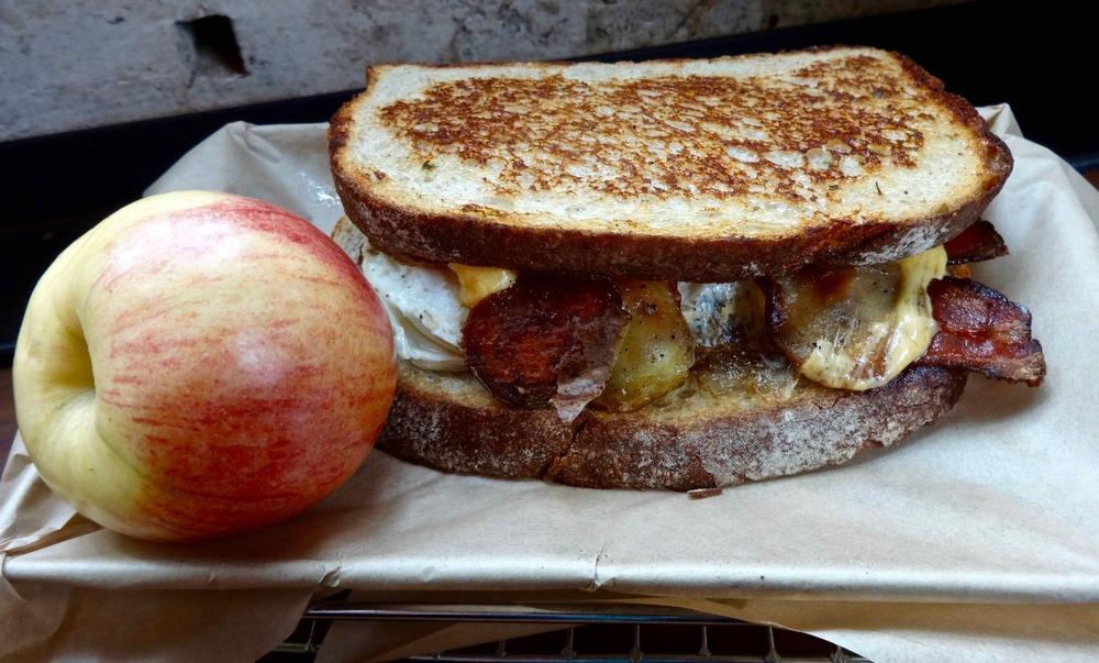 Farmer's Breakfast Sandwich and an apple!