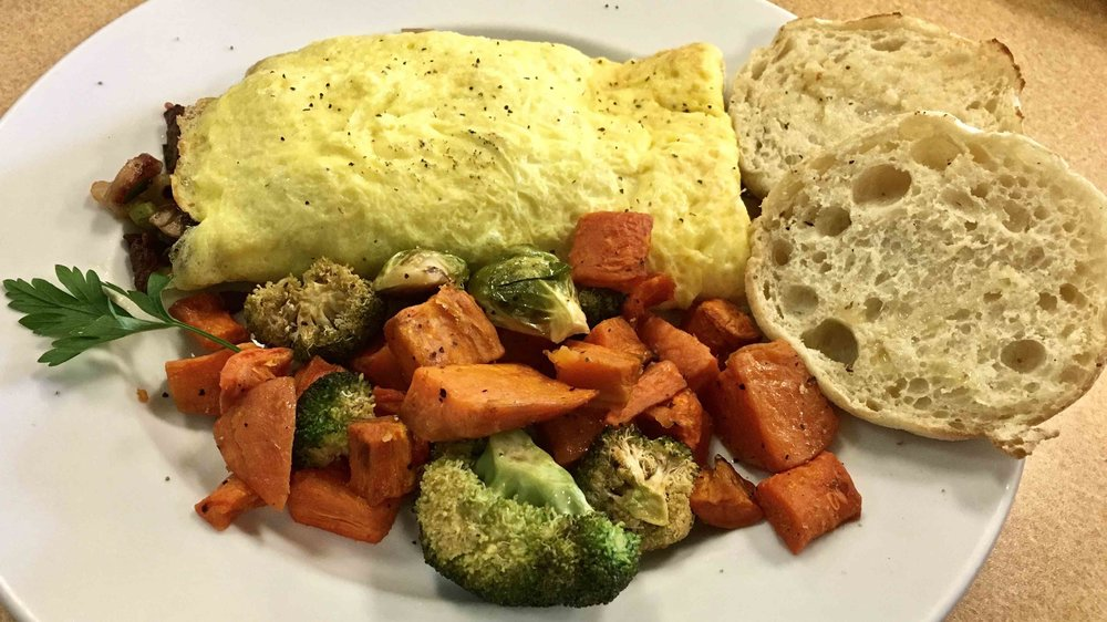 James's Special Omelette with grilled veggie side and English muffin