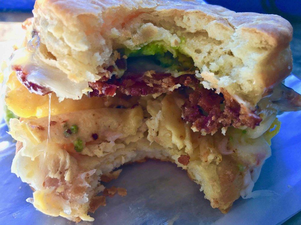 inside Devil's Teeth Baking Company's famous breakfast sandwich