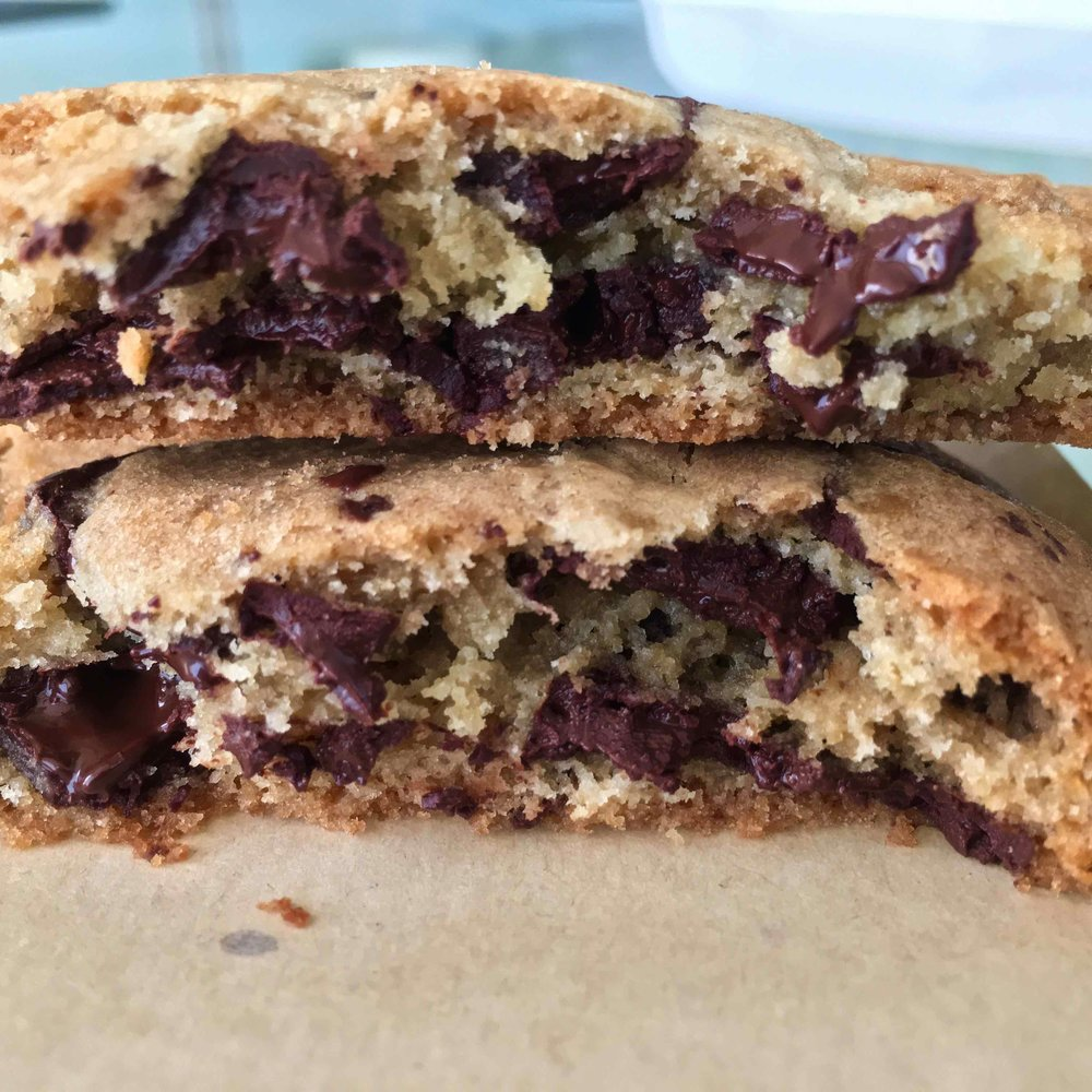 inside a chocolate chip cookie