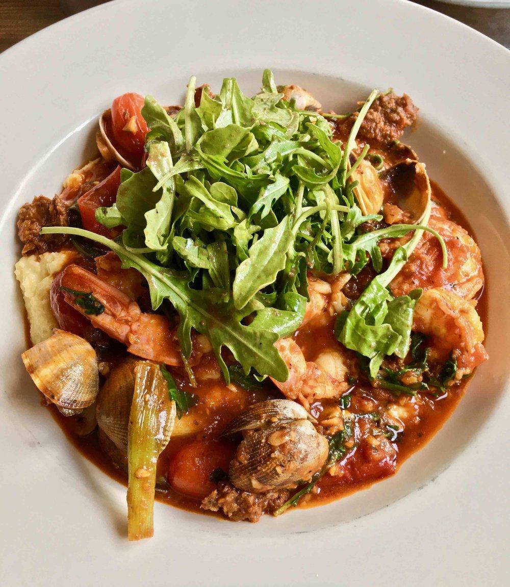 seafood and polenta