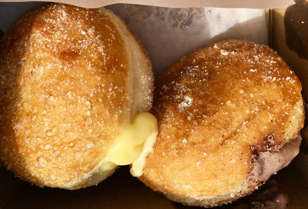 lemon curd and chocolate marshmallow filled donuts