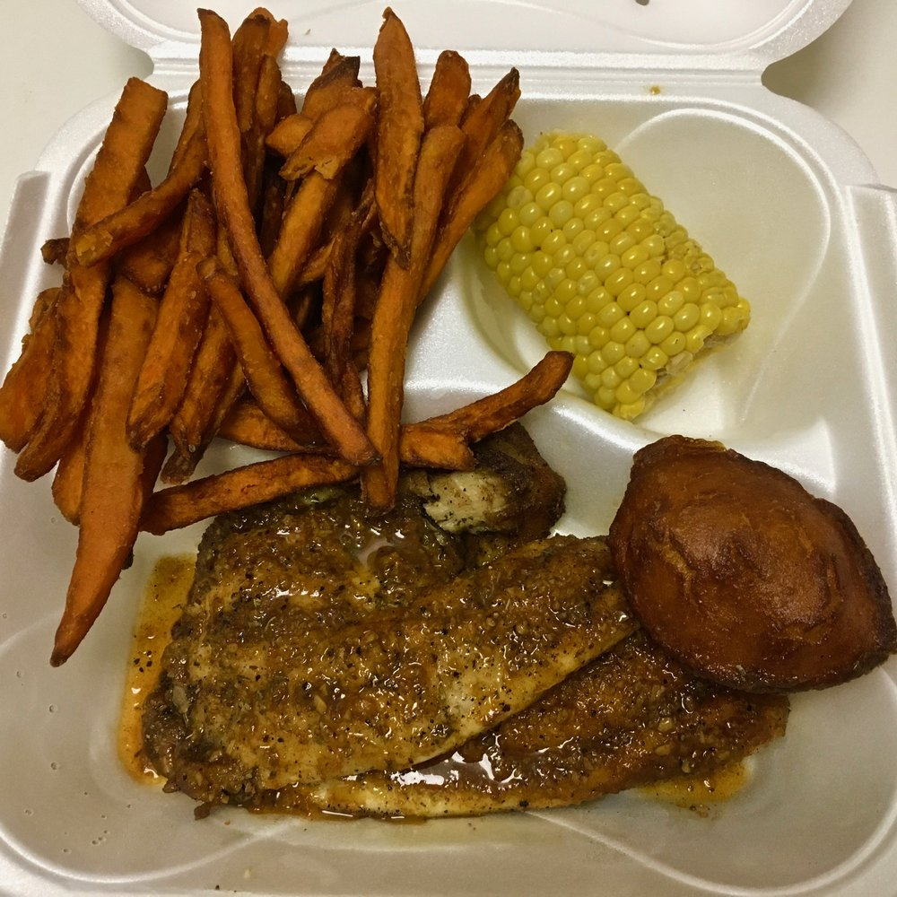 grilled Cajun tilapia and sides