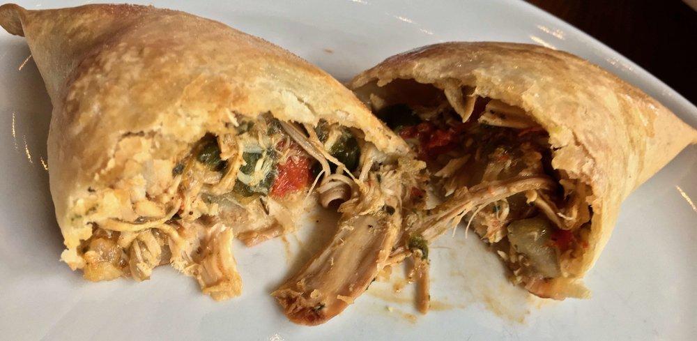 inside a chicken empanada