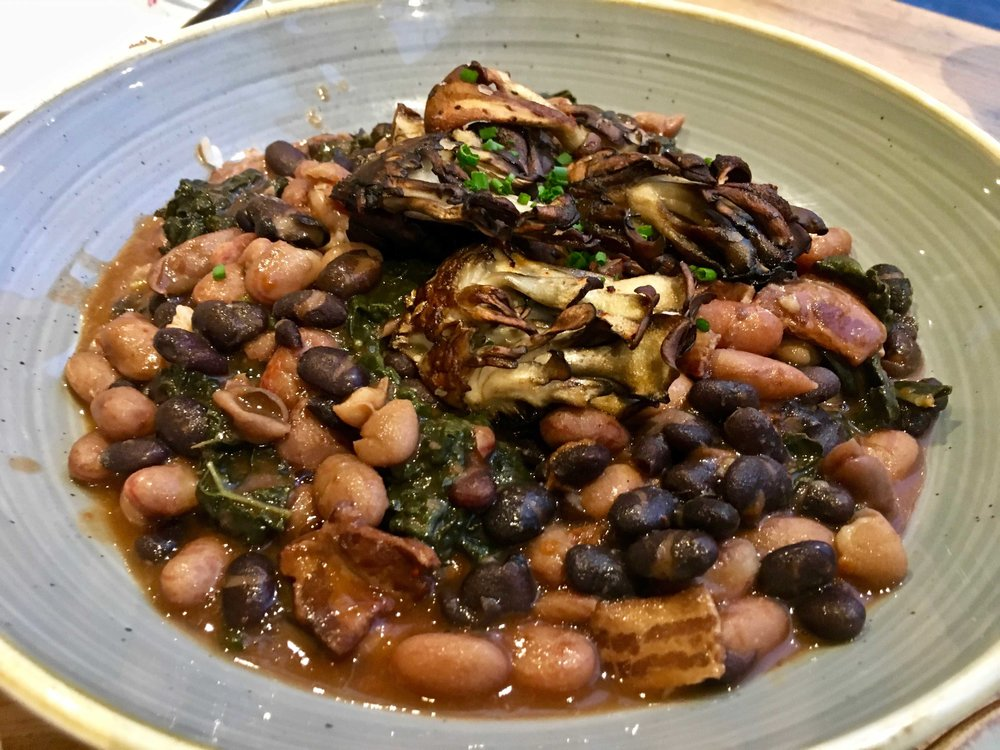 hen of the woods mushrooms on beans $12.75
