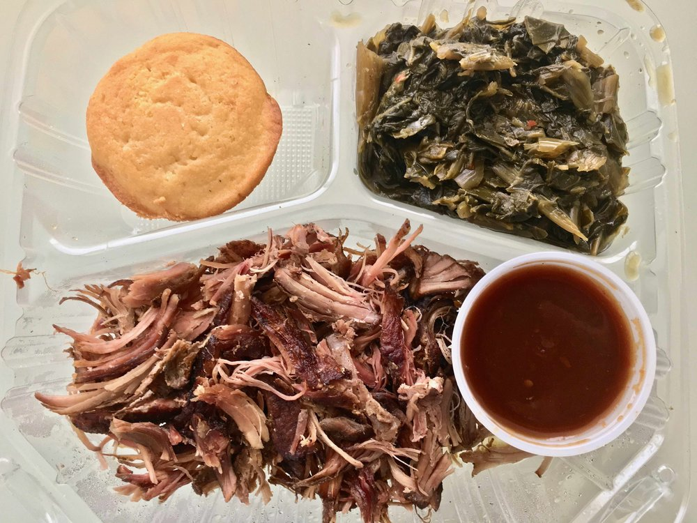 pulled pork and collard greens with cornbread