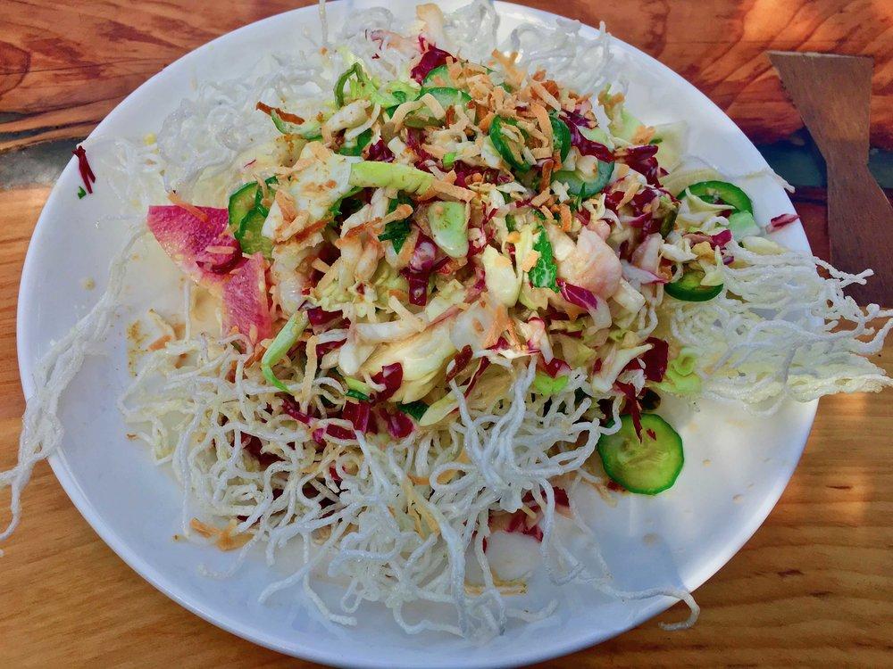 crispy noodle shrimp salad