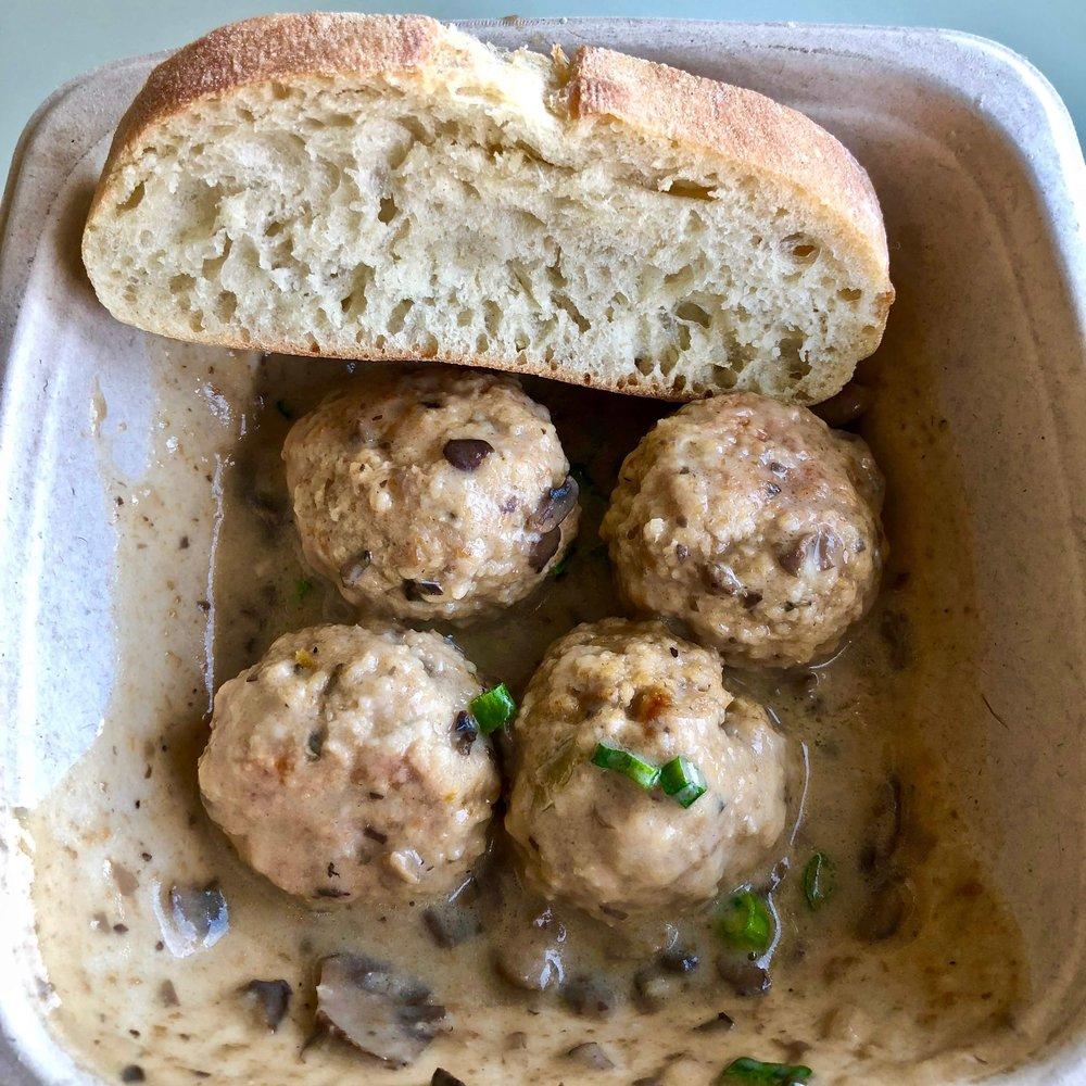 chicken meatballs with mushroom demi-glaze