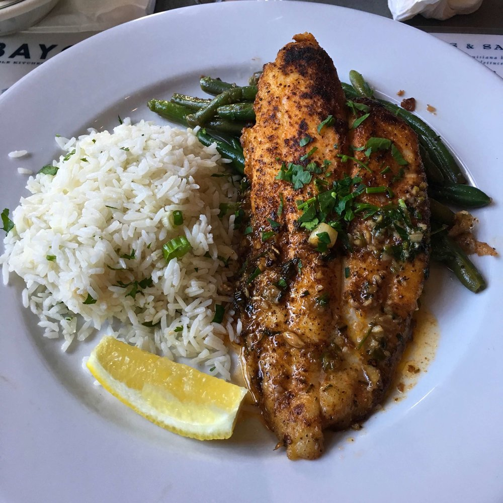 flounder with rice and green beans $18