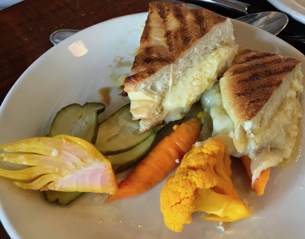 grilled cheese sandwich and pickled vegetables $13