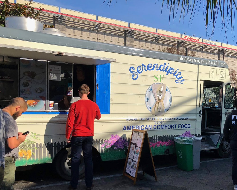 Serendipity food truck. And see, it's sunny and that guy even has short sleeves on!