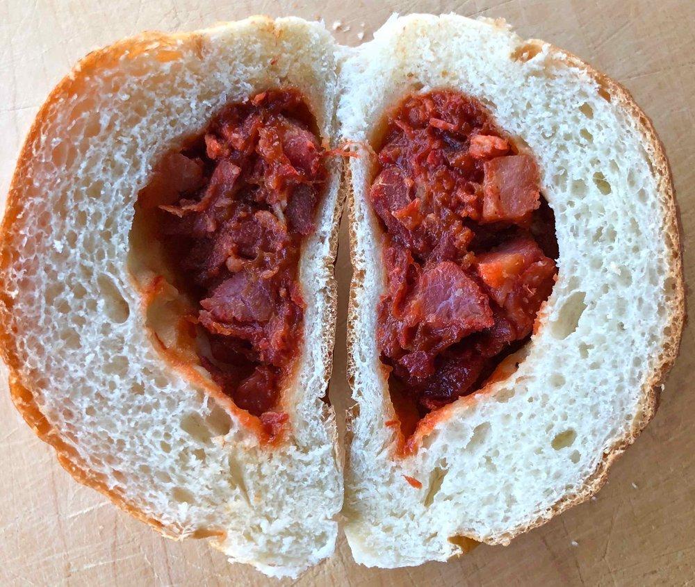 inside a baked bbq pork bun