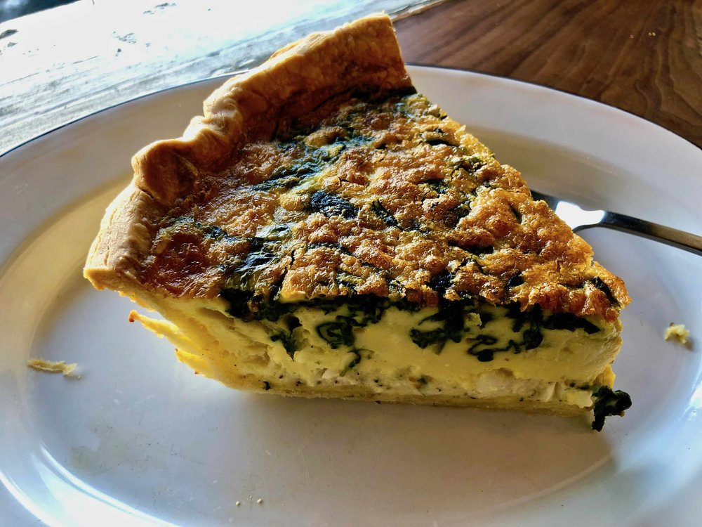 spinach and chicken quiche $5