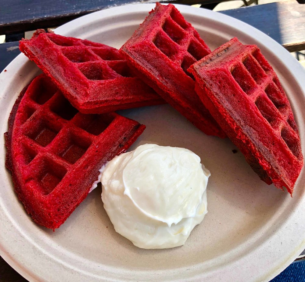 red velvet waffles with cream cheese icing