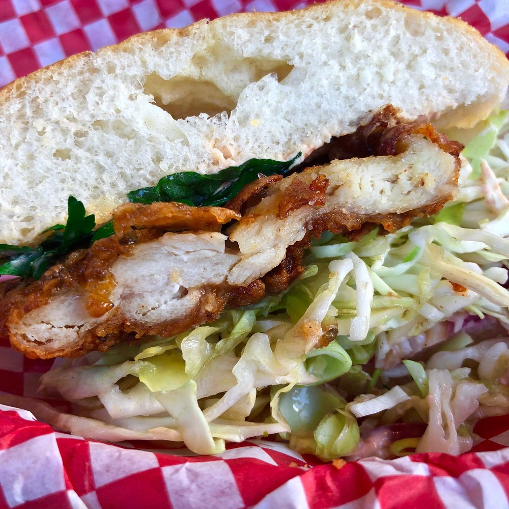 side view of the fried chicken sandwich