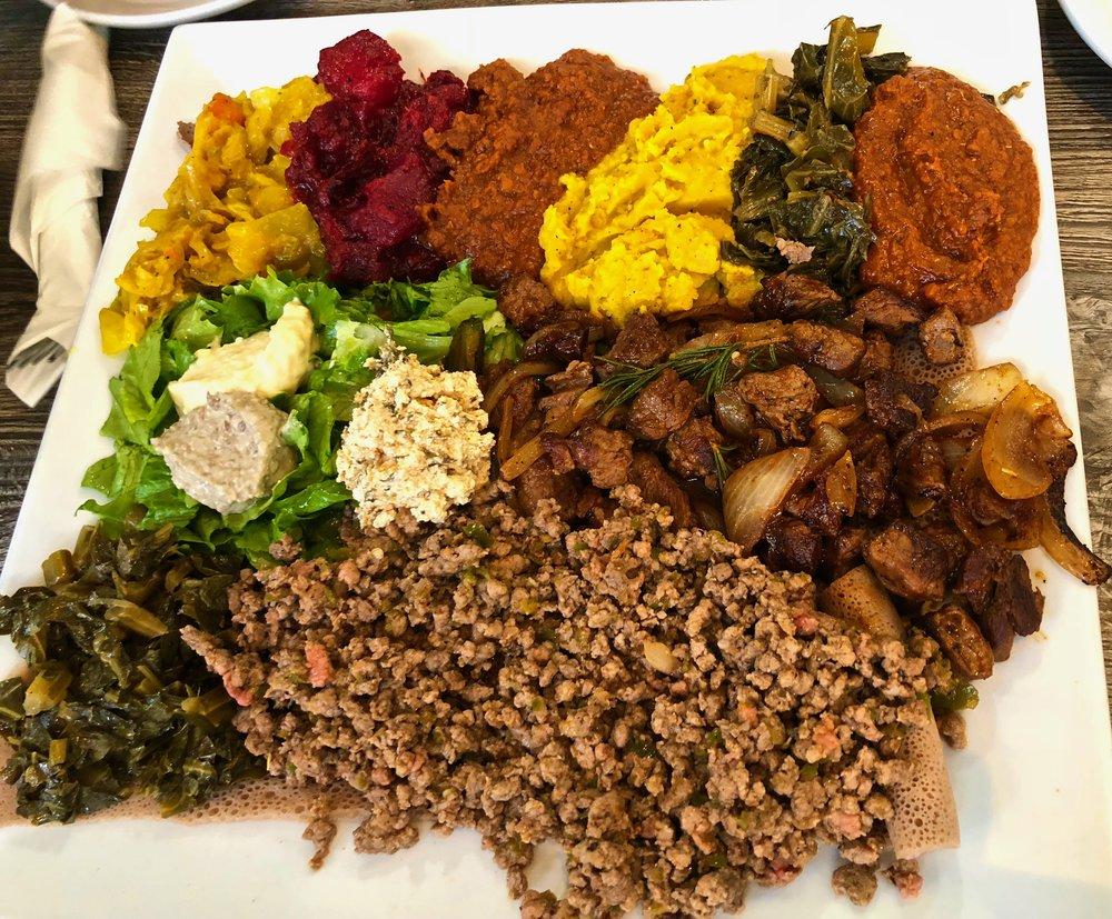 regular kitfo and lamb tibs with vegetarian combo
