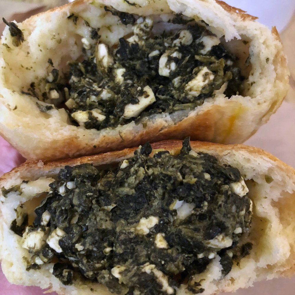 inside the spinach and feta pirojki