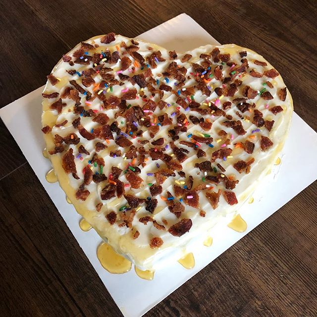 When your buddy has a birthday, you give them all the best things in life; beer, bourbon and bacon (cake lady style! And I also added a honey drizzle)