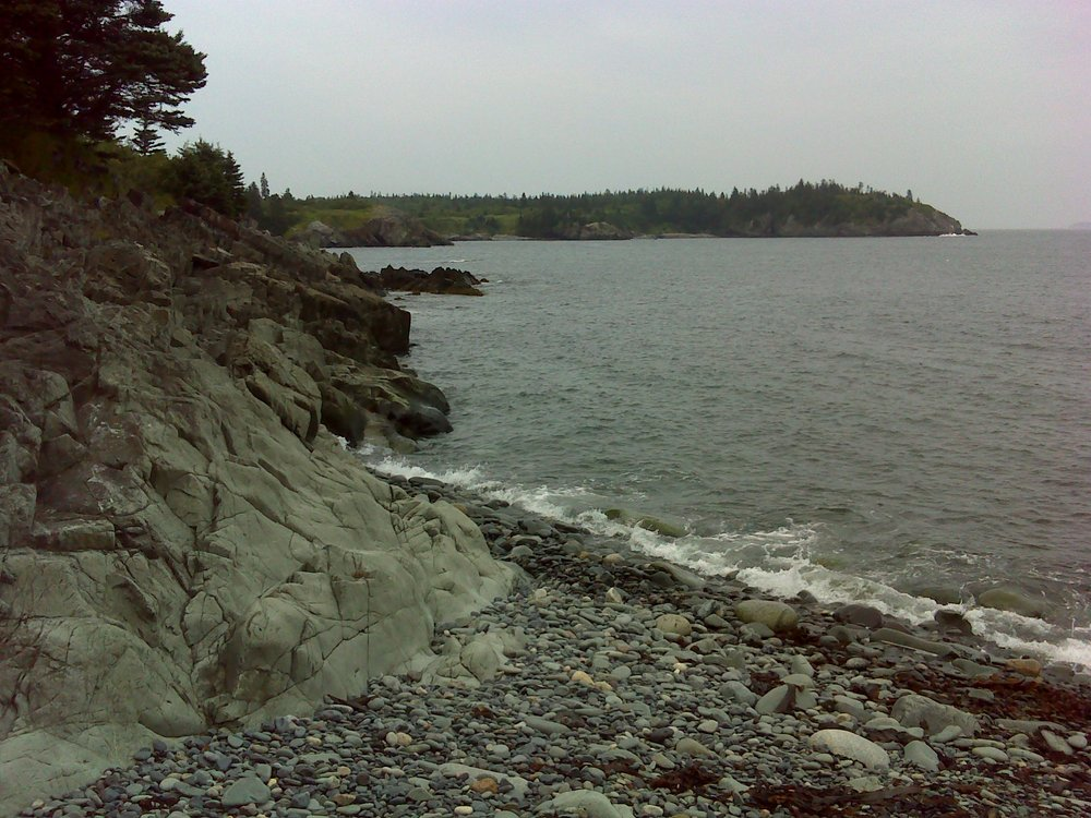 The beach at the end of the Meadow Trail, looking east across Hamilton Cove