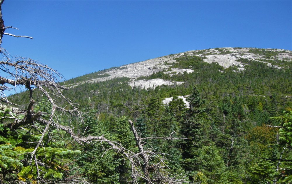 A view of the ledges the AT climbs to reach East Baldpate's summit.