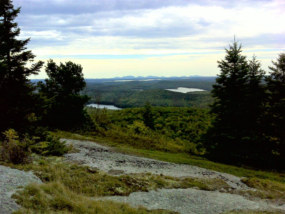 Mount Desert Island from along the trail on Little Chick Hill