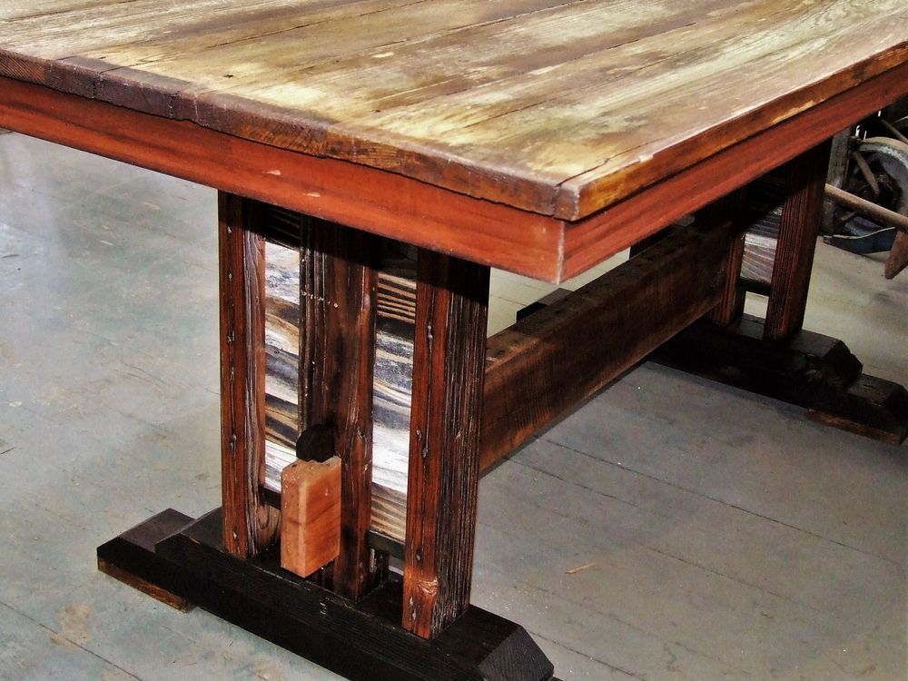Reclaimed Farmhouse Barnwood Trestle Table