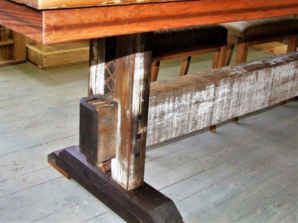 Reclaimed Farmhouse Trestle Dining Table