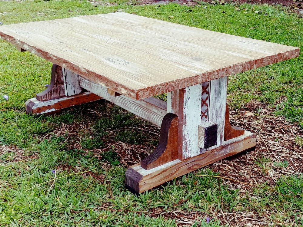 Reclaimed Farmhouse Trestle Coffee Table