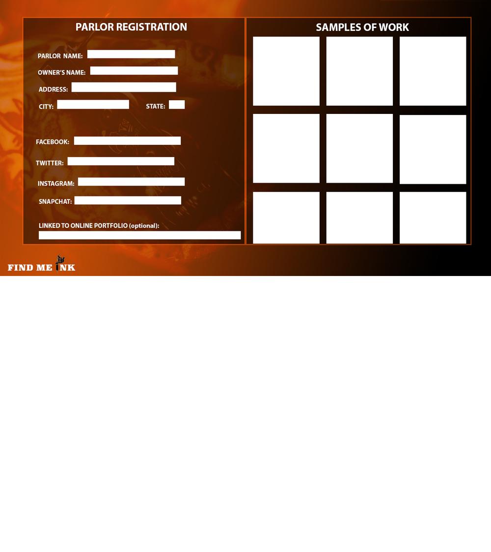 Parlor Registration page