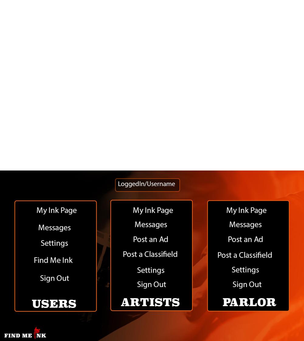 Dropdown menu page
