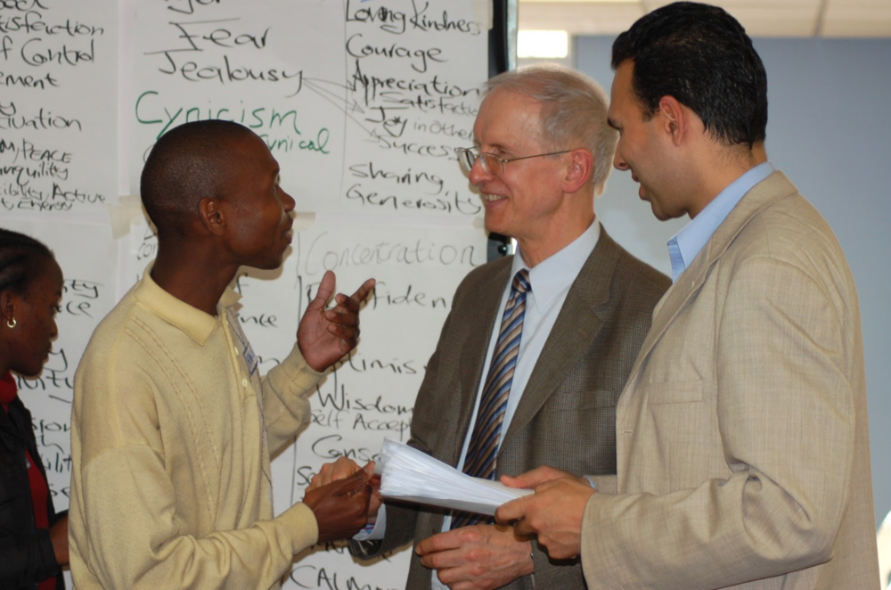 Paul Vincent Cable with Dr Ron Browning at CIDA University, South Africa.