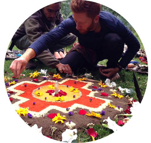 "Preparing an offering during a healing ceremony.  The ""chakana"" is the ancient symbol of Andean shamanism and has its own mythology."