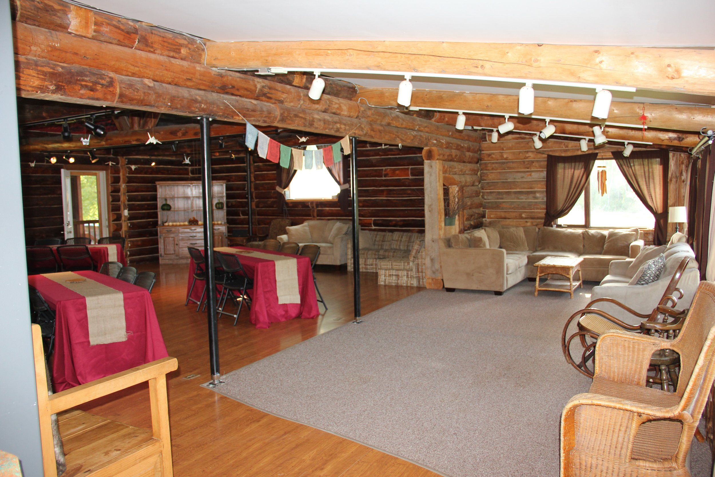 Those enjoying our Talkeetna lodging have access to the Grand Hall - a beautiful space occasionally used as a Talkeetna wedding venue, retreat center, meeting space, workshop venue talkeetna, and reception hall