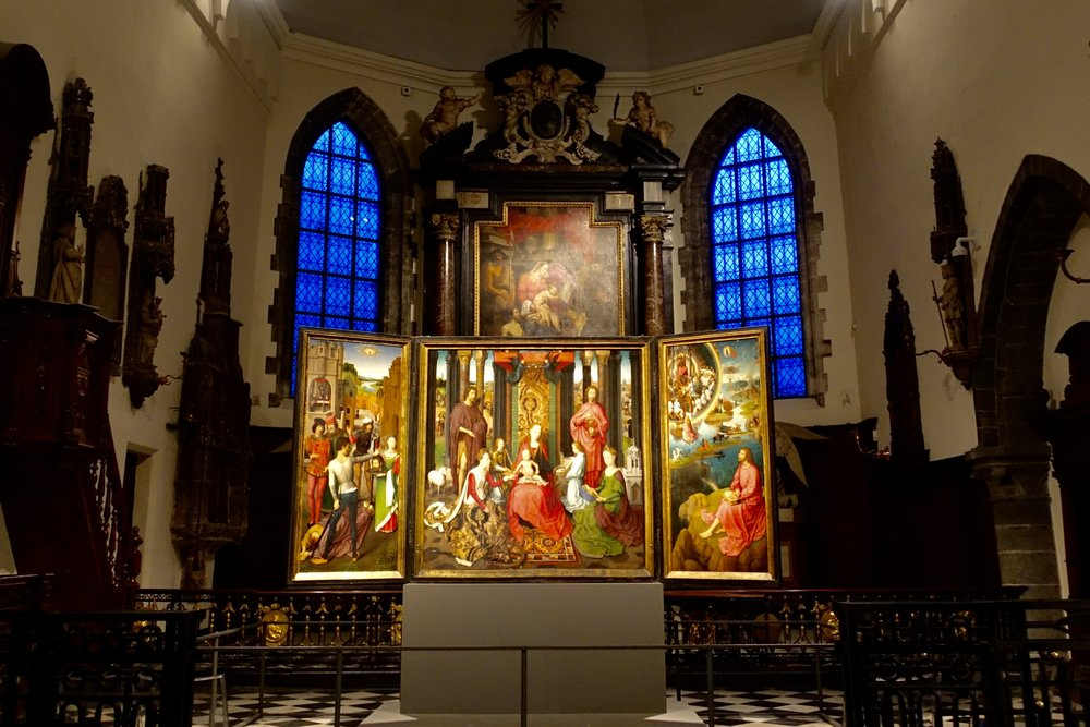 The St. John Altarpiece, c. 1479 by Hans Memling, displayed at Sint-Janshospitaal, one of Europe's oldest hospital buildings