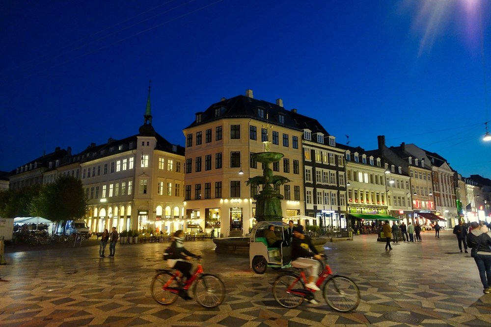 Evening Buzz in Højbro Plads Public Square