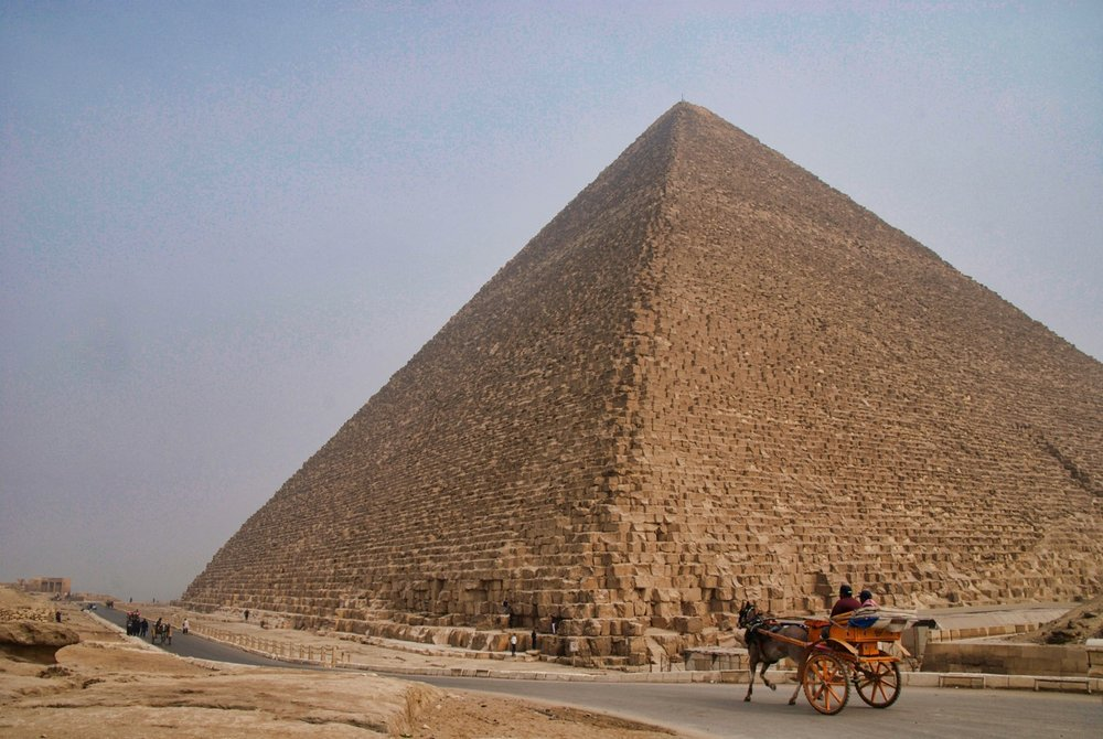 The Great Pyramid of Giza, built around 2,500 bc and the tallest manmade structure until the Eiffel Tower was built in 1889.  You can visit the smal burial chamber inside but only after navigating several narrow and steep walkways, with extremely hot temperatures.