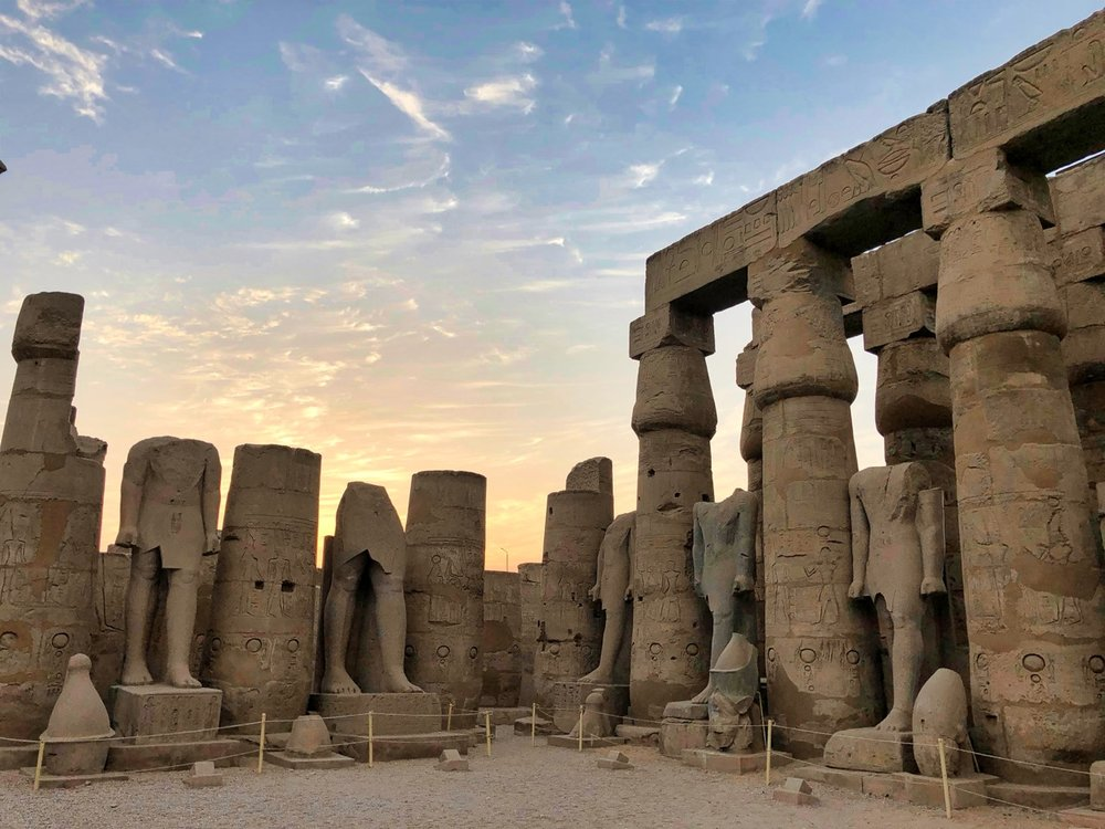 Sunset Tour of Luxor Temple, dating to around 1300 bc. When excavations began in the late 1800s, most of the temple complex was buried underneath sand and rock.