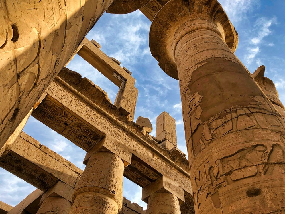 The Great Hypostyle Hall at Karnak, built around 1200 bc and located Just North of Luxor. 134 of these columns are arranged in 16 rows within a massive hall that was once covered.