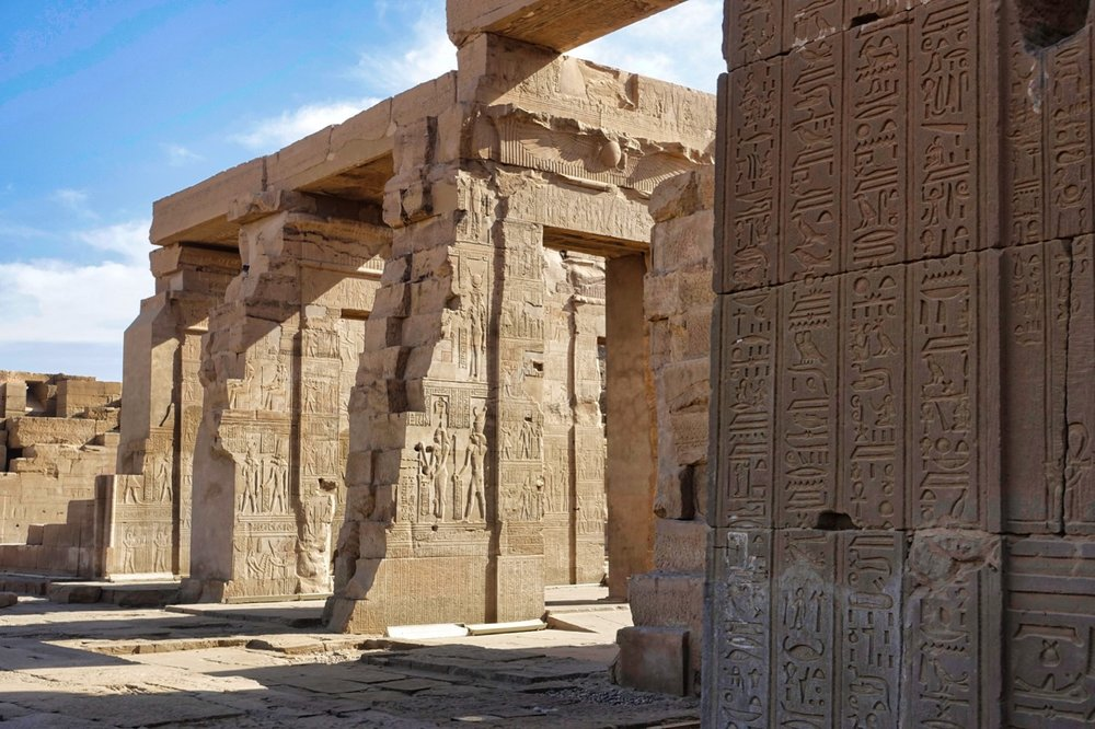 The Temple of Kom Ombo, built around 100 bc along the nile. This is a unique 'double' temple with one side dedicated to the crocodile god, sobek, and the symmetrical other half dedicated to the falcon god, Horus.