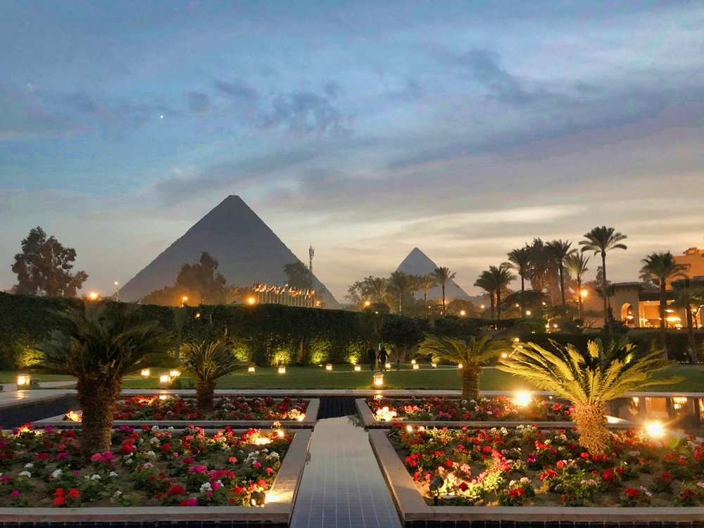 Mena House Hotel in Giza (these pyramid views are real)