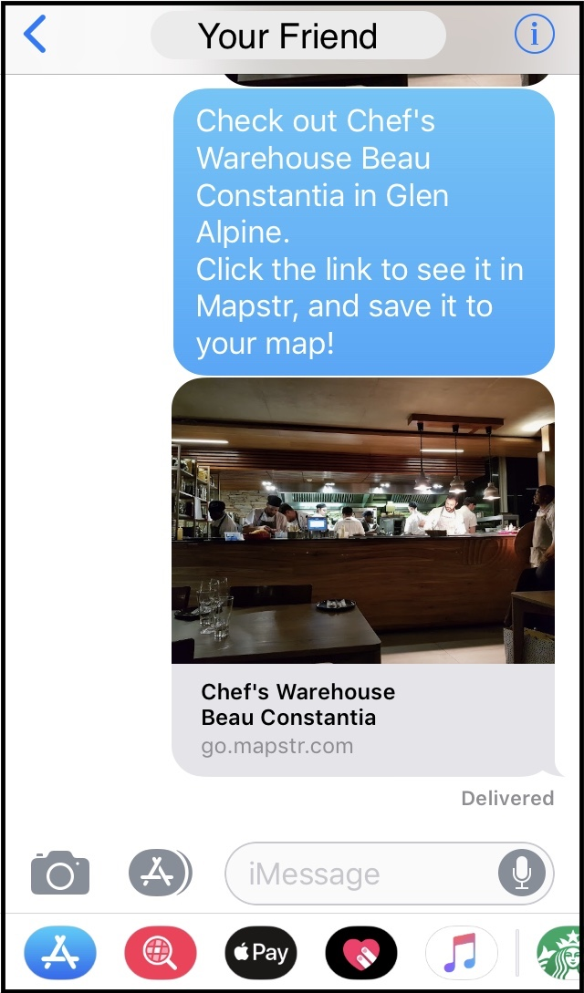 Here I'm texting a highly-rated restaurant, Chef's Warehouse, to my friend.
