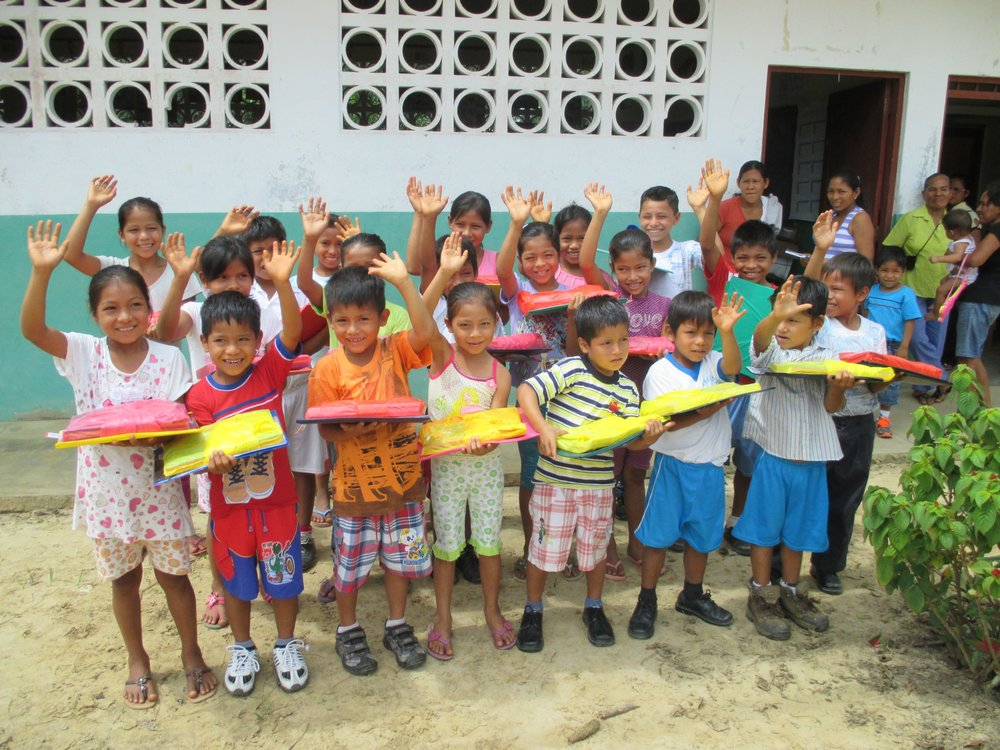 SChoolChildren in Peru Receiving School Supplies through  Amazon Exploration Lodges  and Pack for a Purpose / Photo by Pack for a Purpose